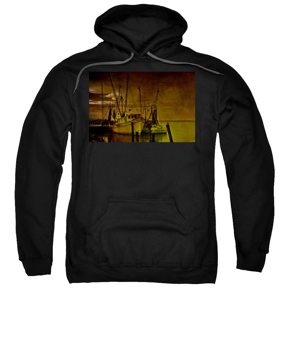 Shrimp Boat Sweatshirt featuring the photograph Shrimpboats In Apalachicola by Susanne Van Hulst