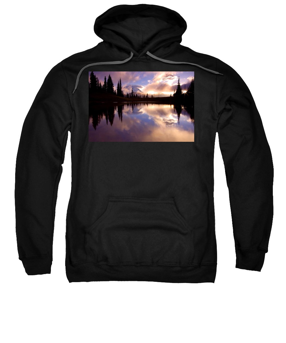 Rainier Sweatshirt featuring the photograph Shrouded In Clouds by Mike Dawson