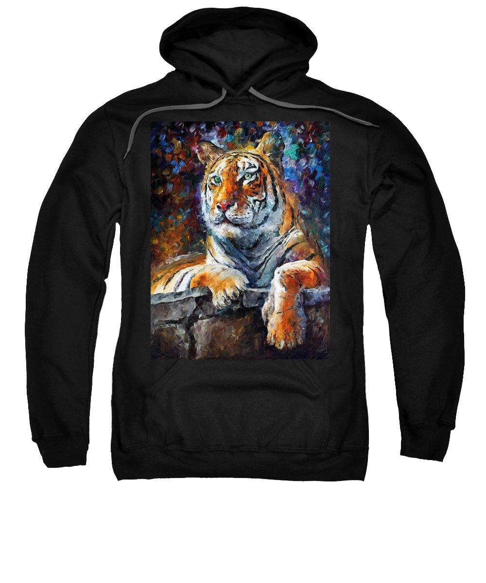 Afremov Sweatshirt featuring the painting Siberian Tiger by Leonid Afremov