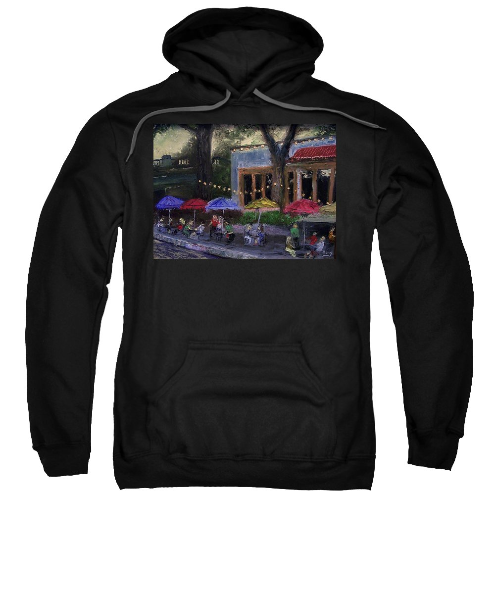 Landscape Sweatshirt featuring the painting Sidewalk Cafe by Stephen King