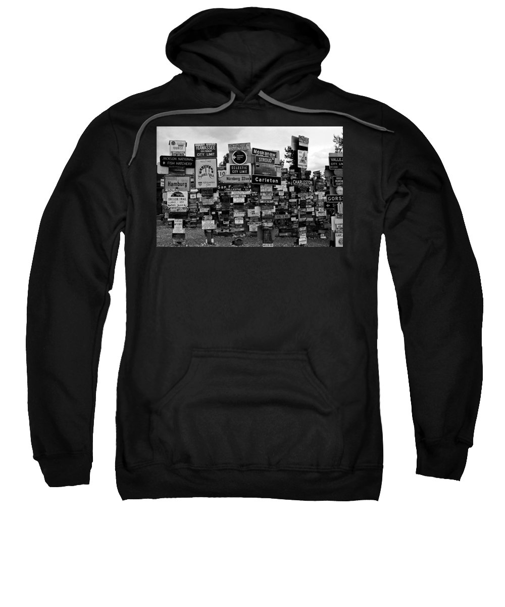 North America Sweatshirt featuring the photograph Sign Post Forest by Juergen Weiss