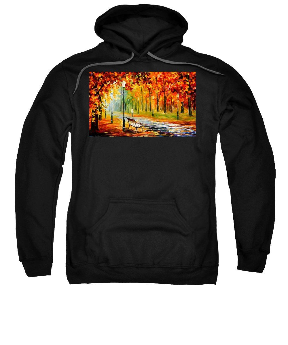 Afremov Sweatshirt featuring the painting Silence Of The Fall by Leonid Afremov