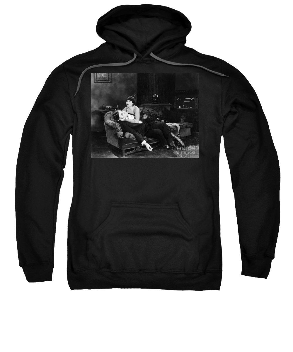 -fainting- Sweatshirt featuring the photograph Silent Film Still: Fainting by Granger