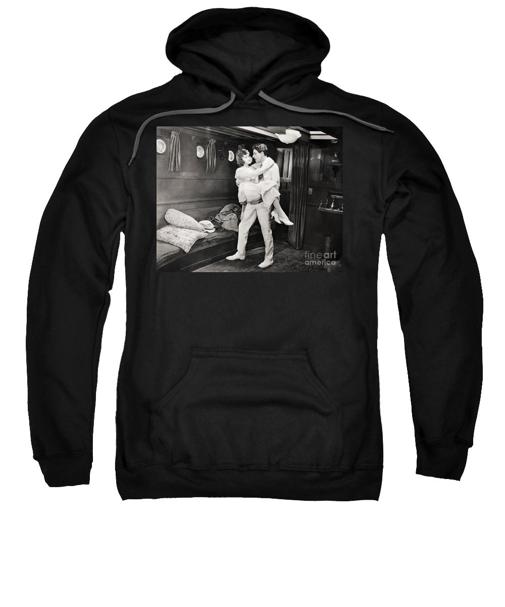 1920s Sweatshirt featuring the photograph Silent Film Still: Ships by Granger