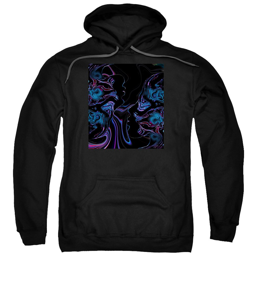 Silhouettes Sweatshirt featuring the digital art Silhouettes In Black Light. by Abstract Angel Artist Stephen K