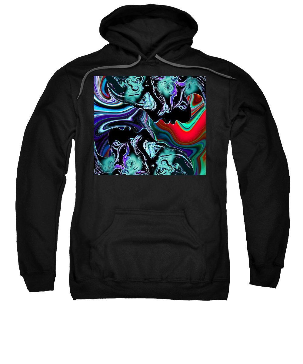 Silhouette Sweatshirt featuring the digital art Silhouettes Striking The Magical Mirror. by Abstract Angel Artist Stephen K
