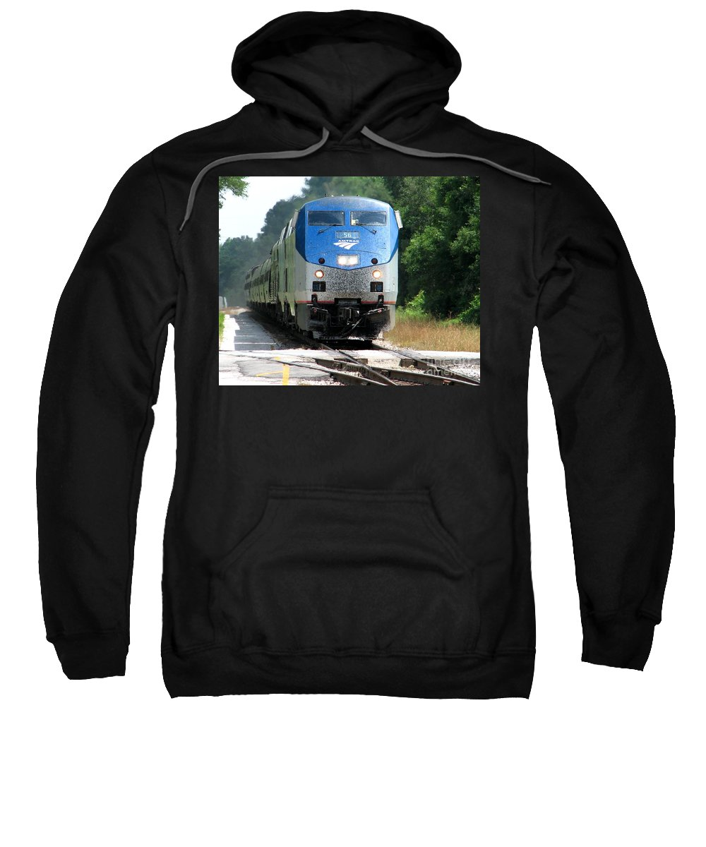 Train Sweatshirt featuring the photograph Silver Meteor by Lesley Giles