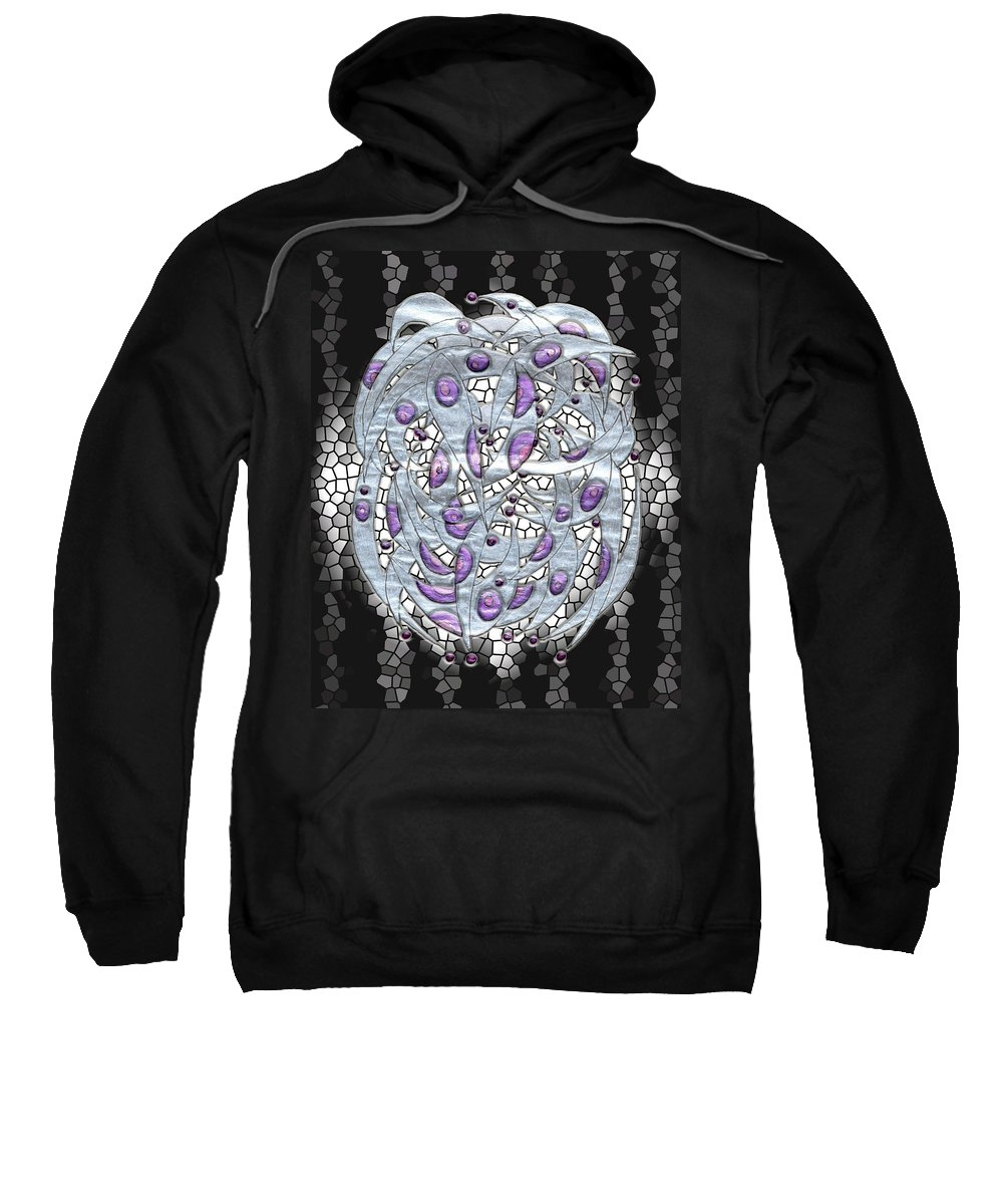 Abstract Sweatshirt featuring the digital art Silver On Stained Glass by Mark Sellers