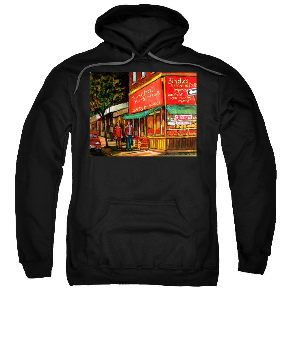Simchas Fruit Store Sweatshirt featuring the painting Simchas Fruit Store by Carole Spandau