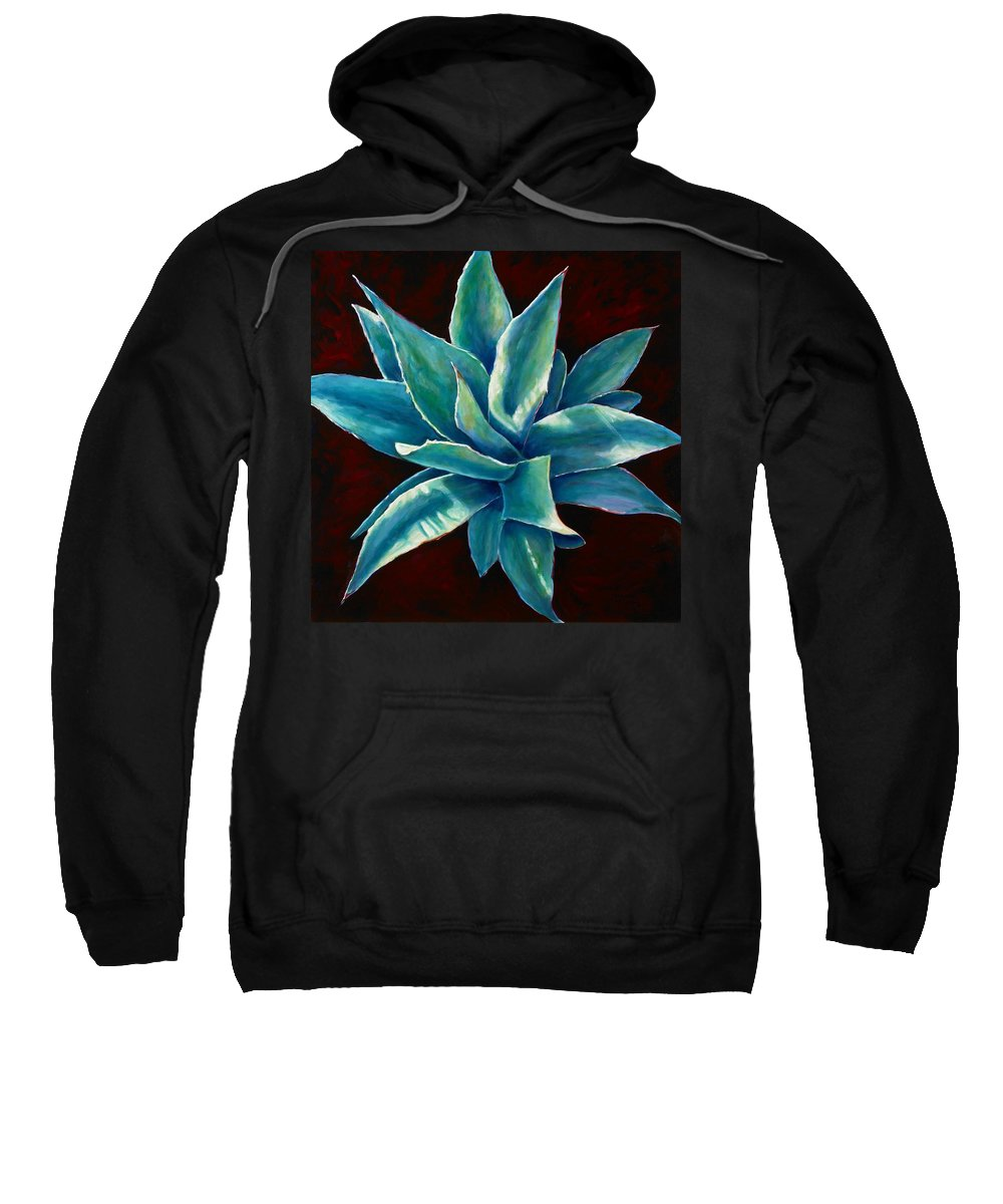 Agave Sweatshirt featuring the painting Simply Succulent by Shannon Grissom
