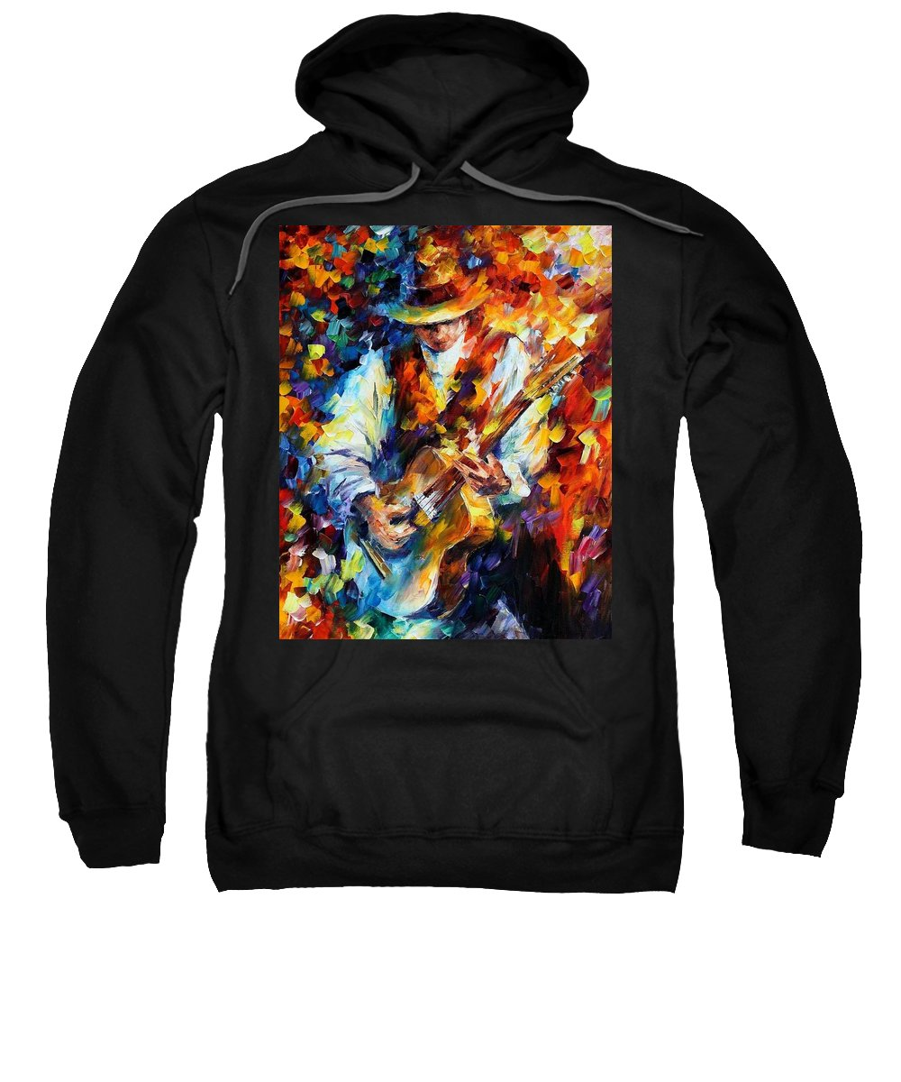 Afremov Sweatshirt featuring the painting Sing My Guitar by Leonid Afremov