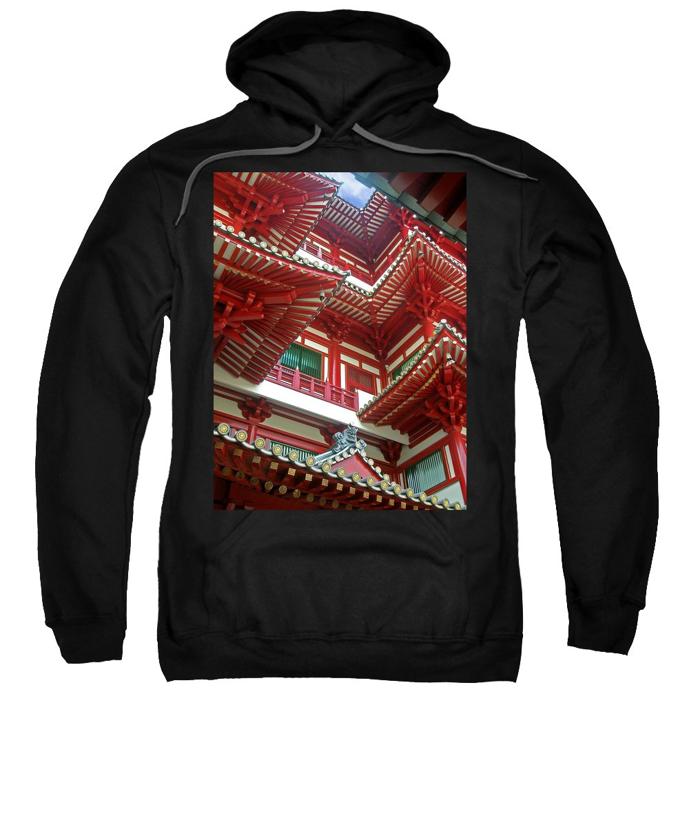 Singapore Temple Religion Buddhism Candle Lamp Light Chinese Chinatown Culture Tradition Building Sweatshirt featuring the photograph Singapore Buddha Tooth Temple by Mark Sellers
