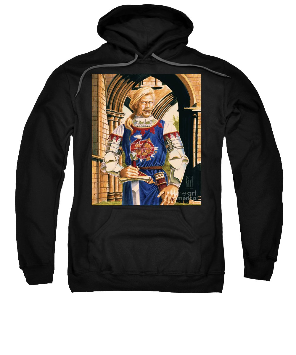 Swords Sweatshirt featuring the painting Sir Dinadan by Melissa A Benson