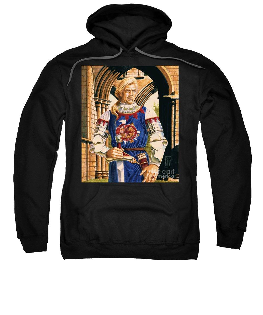 Swords Sweatshirt featuring the painting Sir Dinadan by Melissa A Benson