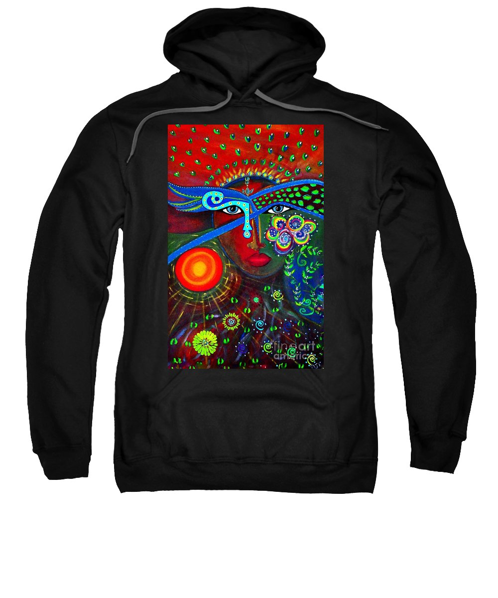 Sister Sweatshirt featuring the painting Sister Rainforest  by Davids Digits
