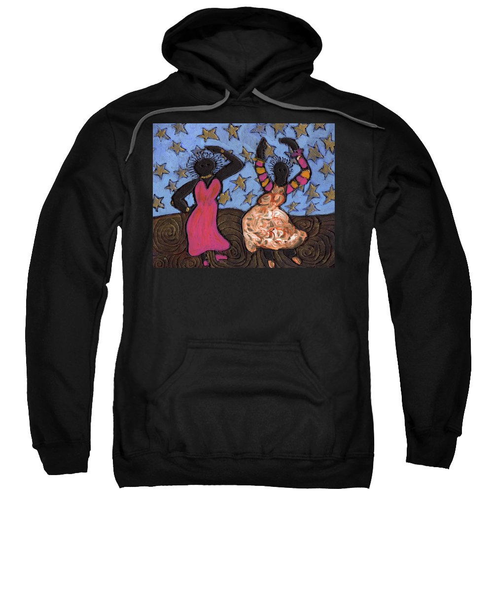 Folk Art Sweatshirt featuring the painting Sisters Sarah Sue And Sally Mae Swinging The Night Away by Wayne Potrafka