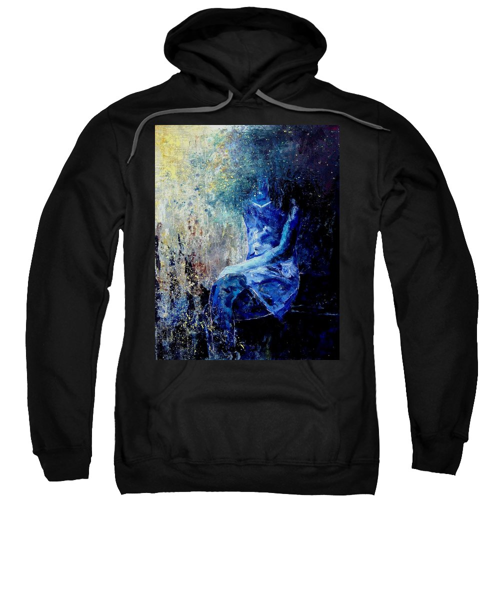 Woman Girl Fashion Sweatshirt featuring the painting Sitting Young Girl by Pol Ledent