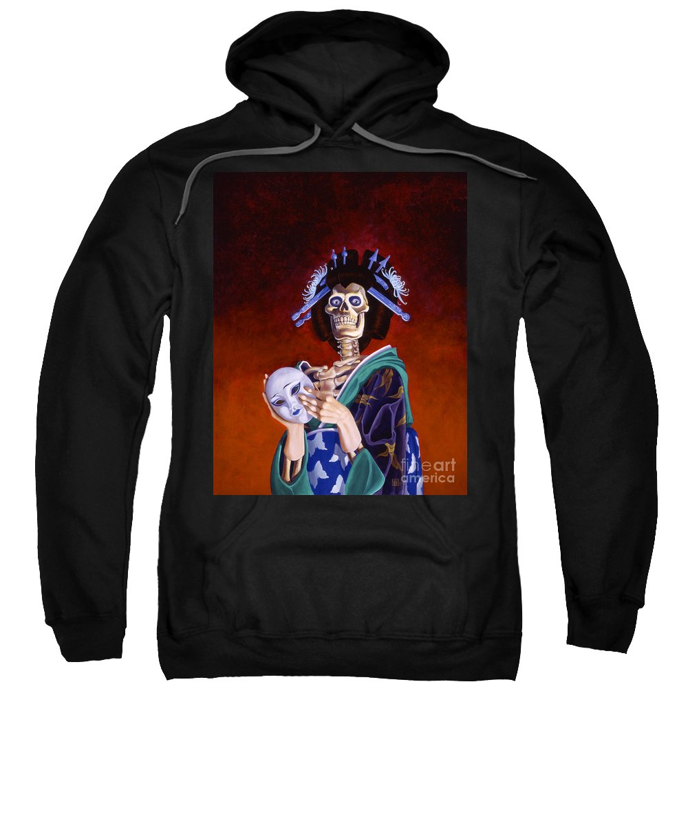 Skeleton Sweatshirt featuring the painting Skeletal Geisha With Mask by Melissa A Benson