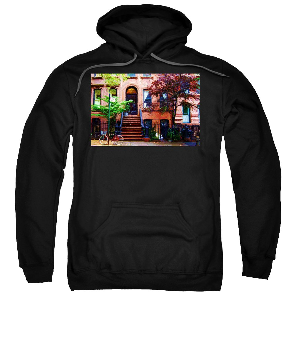 Art Sweatshirt featuring the digital art Sketch Of Carrie's Place From Sex And The City by Randy Aveille