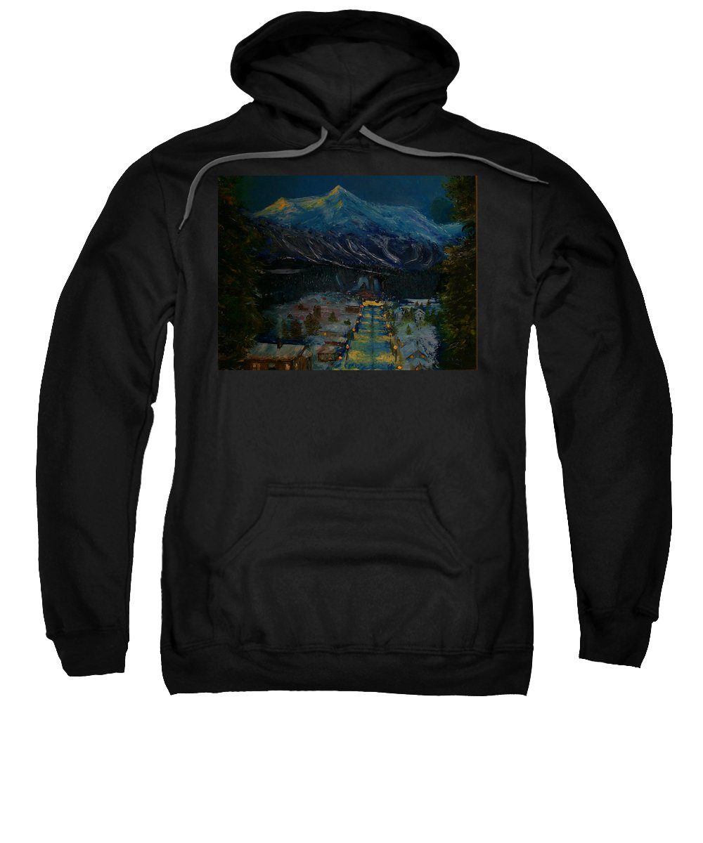 Winter Sweatshirt featuring the painting Ski Resort by Stephen King