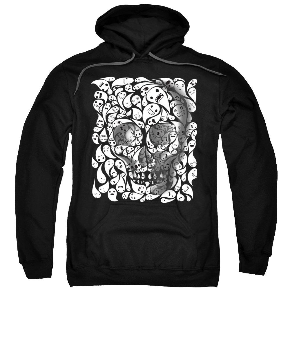 Skull Sweatshirt featuring the painting Skull Doodle by Sassan Filsoof