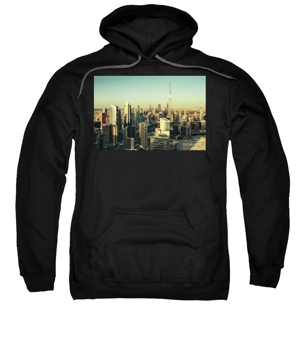 Dubai Sweatshirt featuring the photograph Skyscrapers Of Dubai At Sunset by Dmitrii Telegin