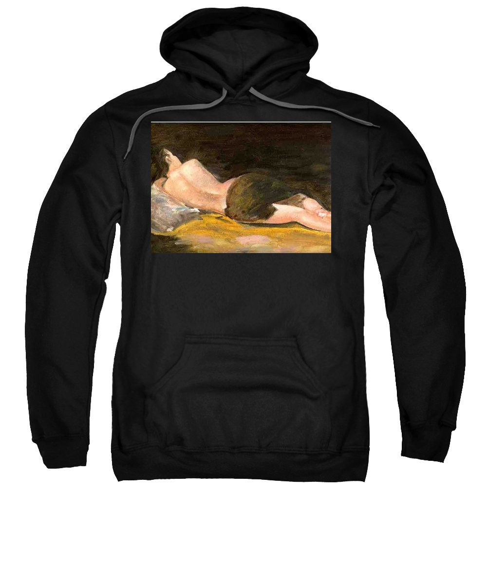 Woman Sweatshirt featuring the painting Sleeping Beauty by Asha Sudhaker Shenoy