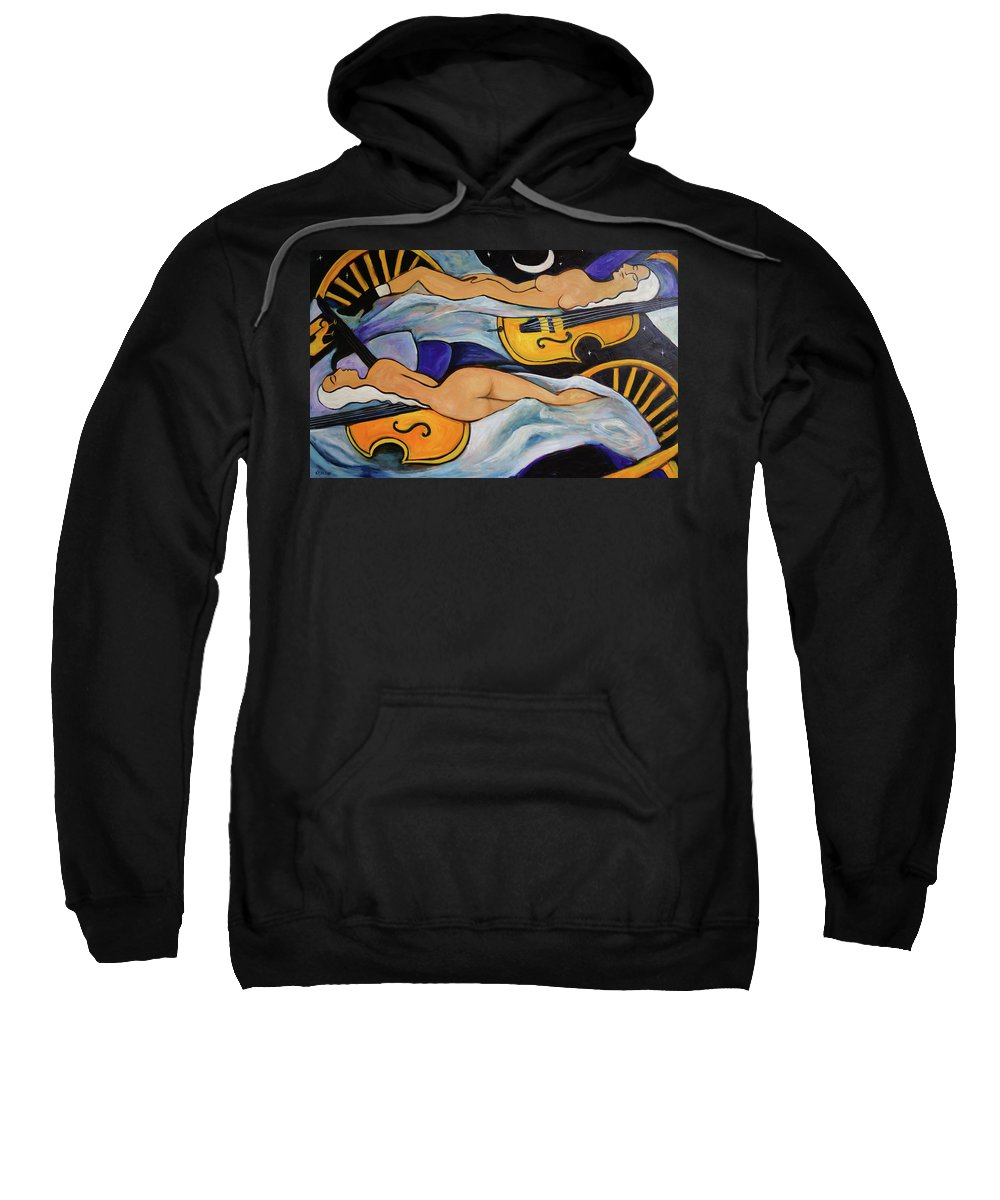 Musicians Sweatshirt featuring the painting Sleeping Cellists by Valerie Vescovi