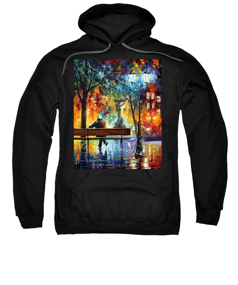 Afremov Sweatshirt featuring the painting Sleeplessness by Leonid Afremov