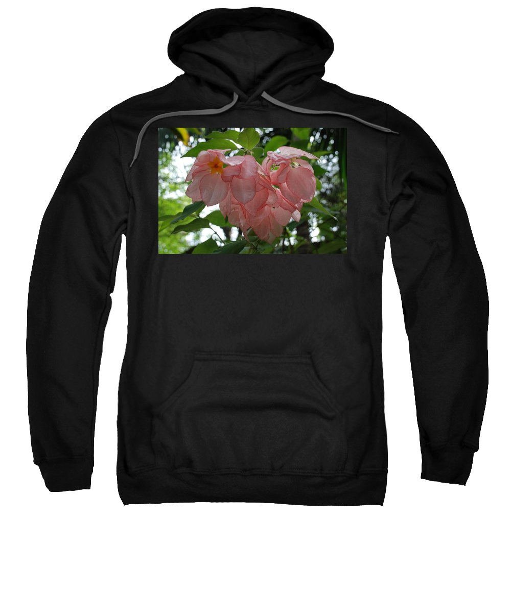 Orange Sweatshirt featuring the photograph Small Orange Flower Pink Heart Leaves by Rob Hans