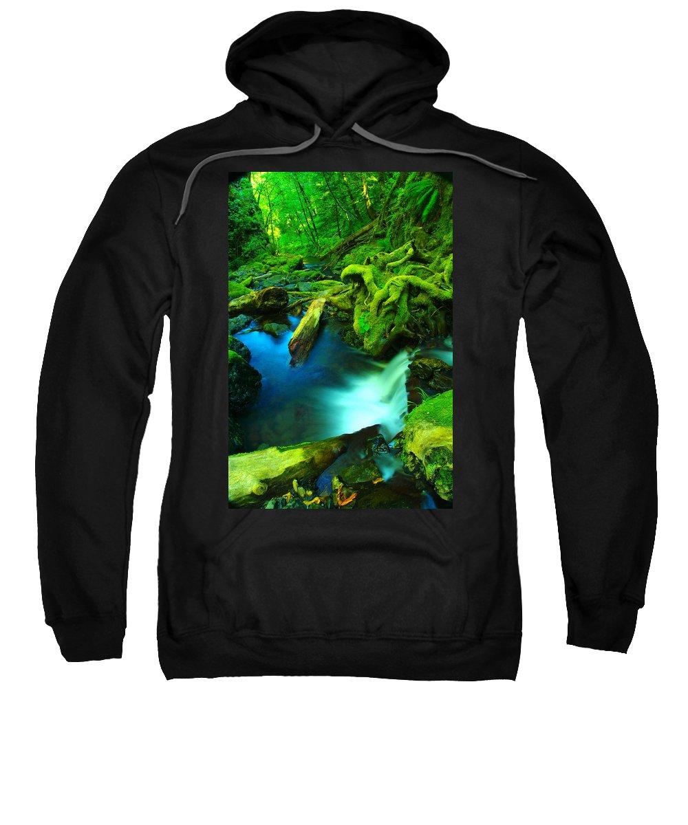 Waterfalls. Oregon Waterfalls Sweatshirt featuring the photograph Small Waterfall by Jeff Swan