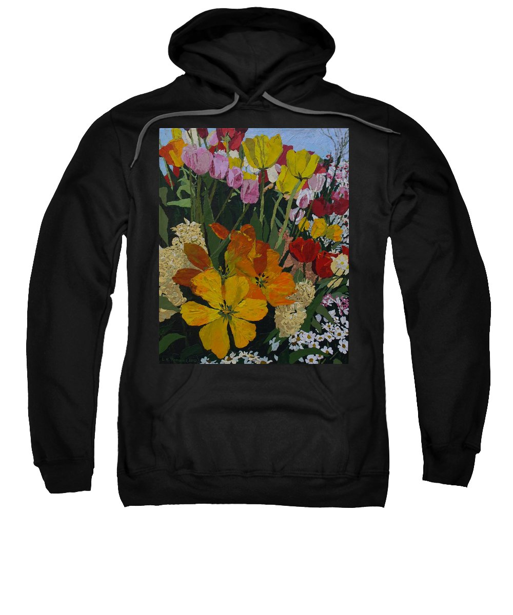 Floral Sweatshirt featuring the painting Smith's Bulb Show by Leah Tomaino