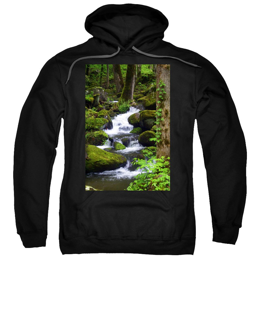 Great Smokey Mountains National Park Sweatshirt featuring the photograph Smokey Mountain Stream by Marty Koch