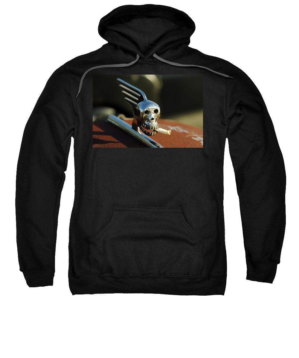 Transportation Sweatshirt featuring the photograph Smoking Skull Hood Ornament by Jill Reger