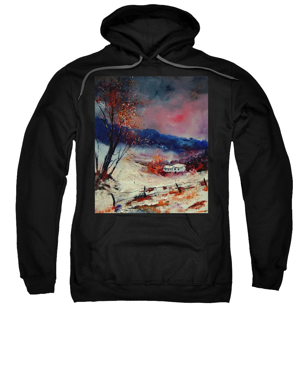 Winter Sweatshirt featuring the painting Snow 569020 by Pol Ledent