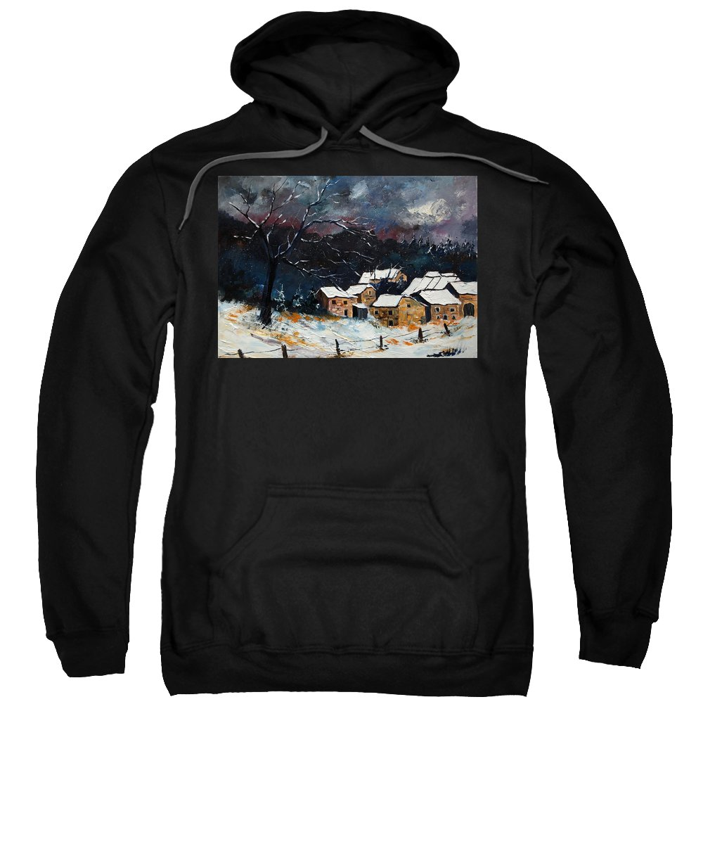 Snow Sweatshirt featuring the painting Snow 57 by Pol Ledent