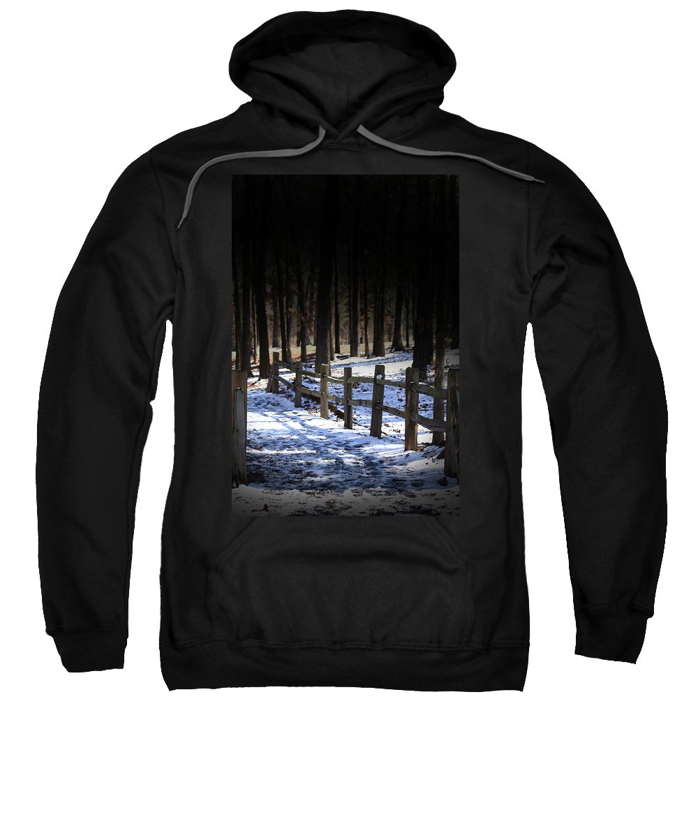 Snow Sweatshirt featuring the digital art Snow Covered Bridge by Kim Henderson