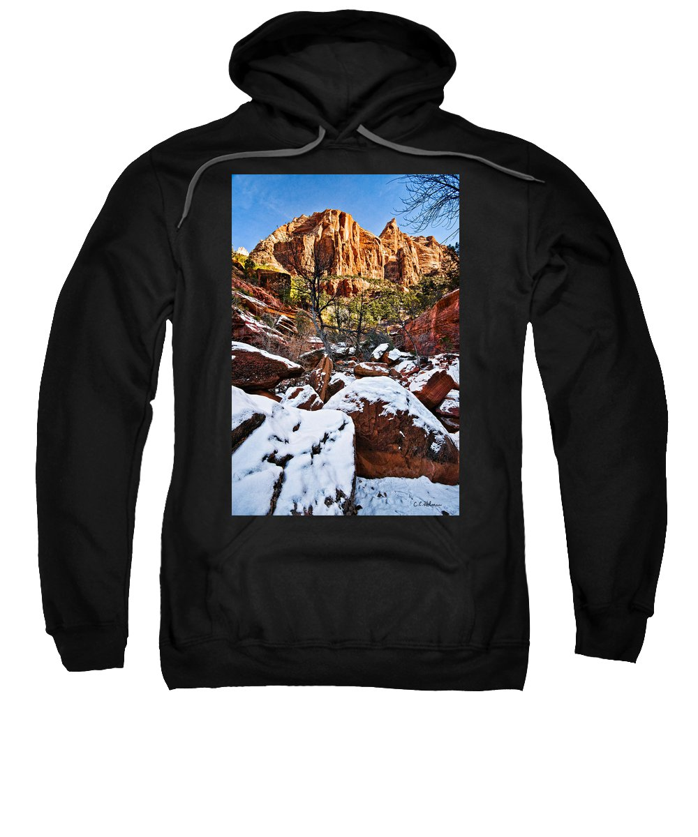 Mountain Sweatshirt featuring the photograph Snow In The Canyons by Christopher Holmes