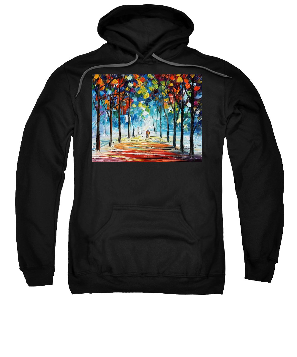 Afremov Sweatshirt featuring the painting Snowing Alley by Leonid Afremov