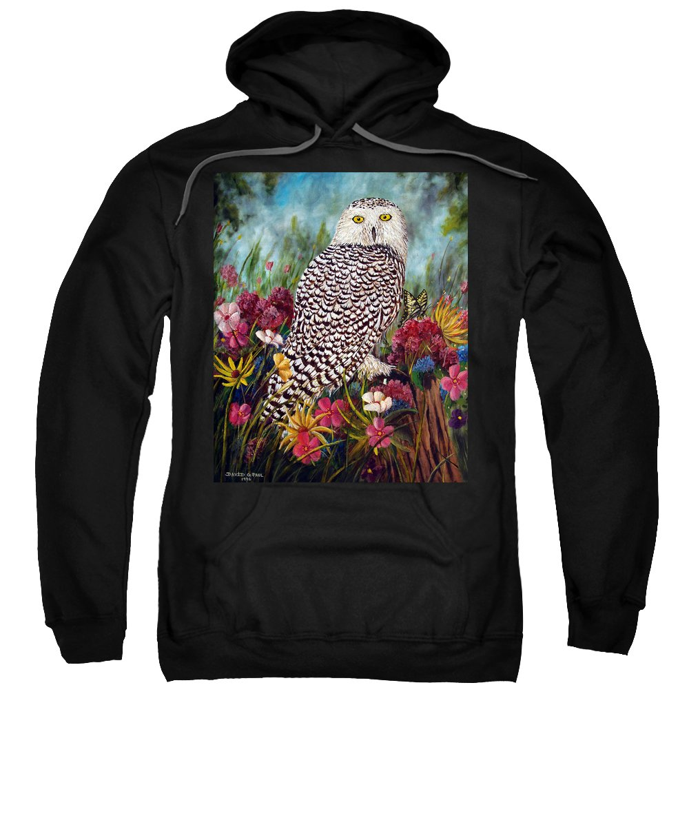 Owl Sweatshirt featuring the painting Snowy Owl by David G Paul