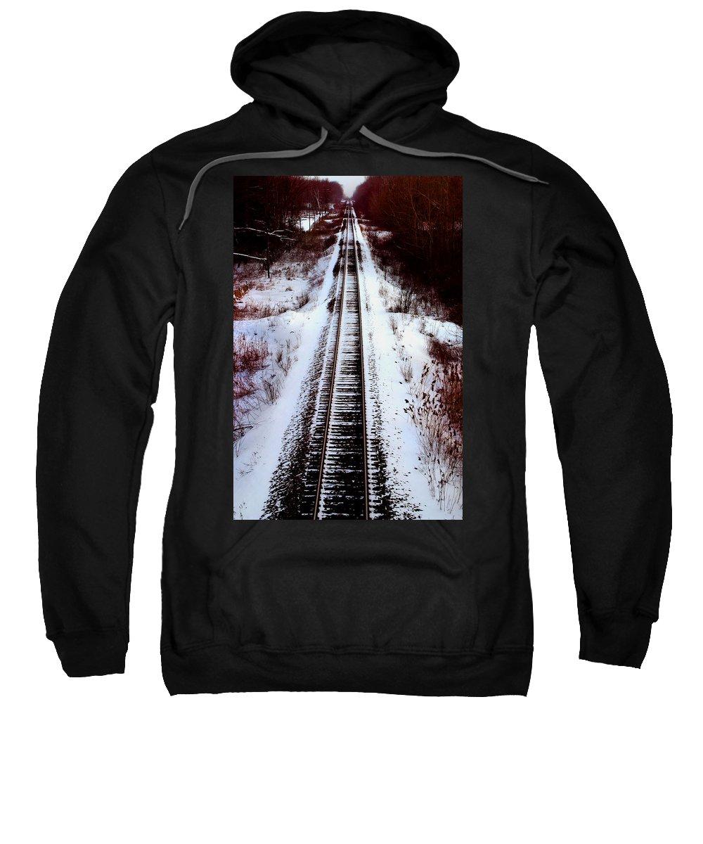 Train Tracks Sweatshirt featuring the photograph Snowy Train Tracks by Anthony Jones