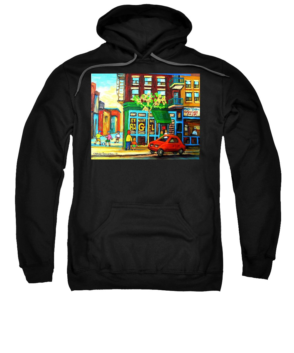 St Viateur Bagel Shop Montreal Street Scenes Sweatshirt featuring the painting Soccer Game At The Bagel Shop by Carole Spandau