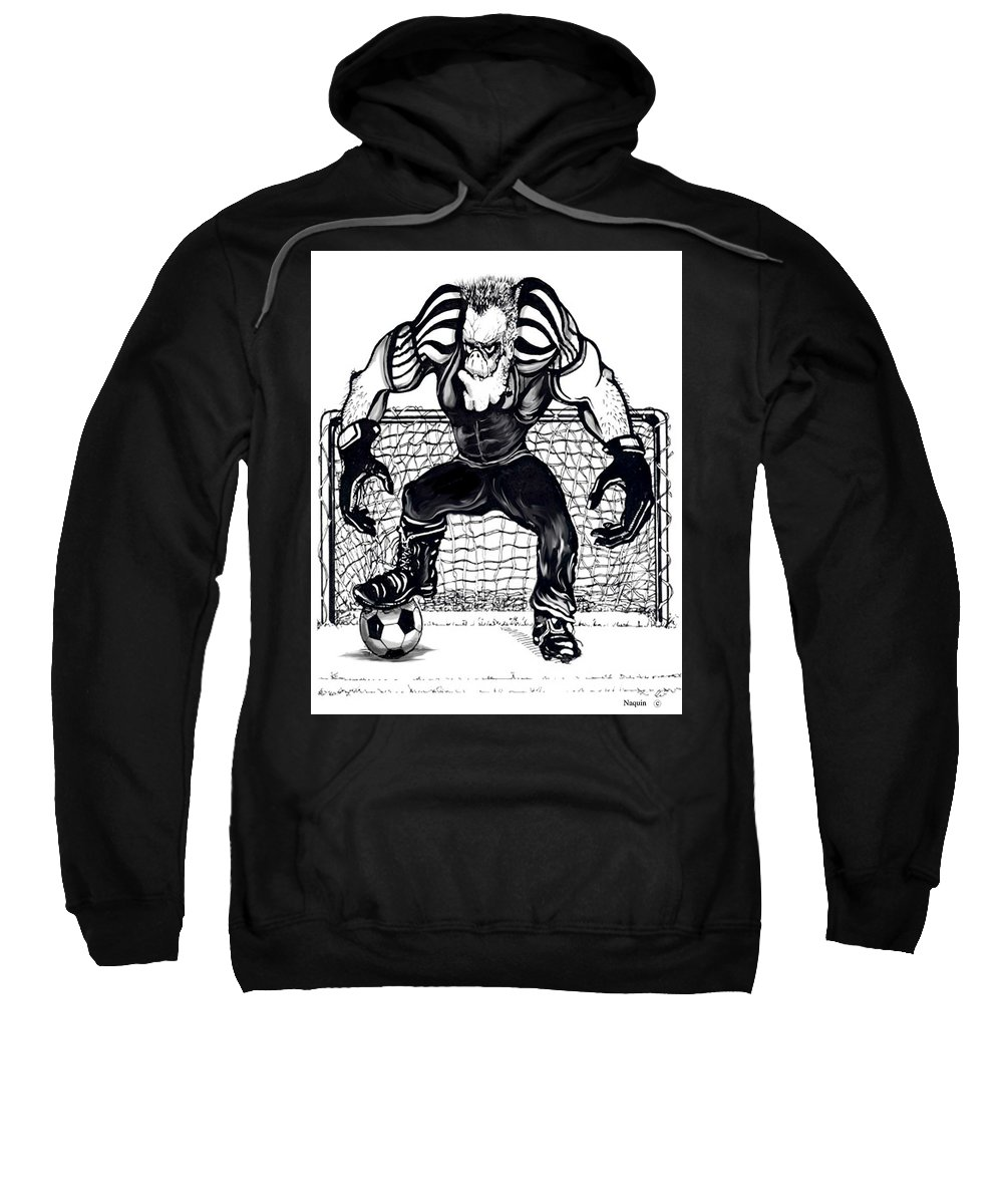 Cartoon Sweatshirt featuring the drawing Soccer Goalie by Keith Naquin