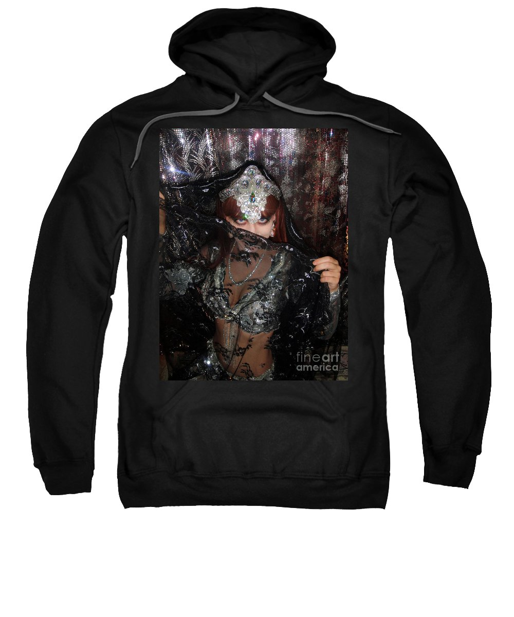 Sofia Sweatshirt featuring the photograph Sofia Metal Queen - Black Metal Bellydancer Model by Sofia Metal Queen