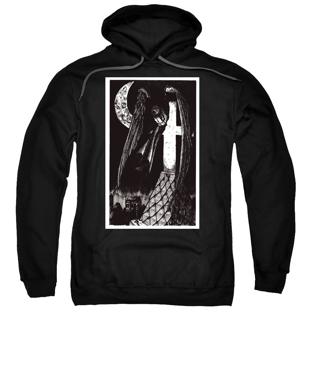 Angel Sweatshirt featuring the drawing Solemn vigil by Tobey Anderson