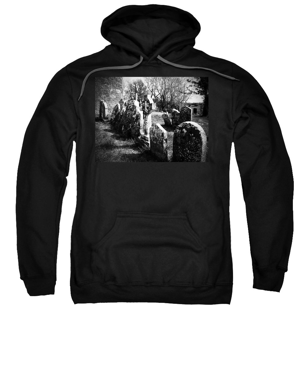 Ireland Sweatshirt featuring the photograph Solitary Cross At Fuerty Cemetery Roscommon Irenand by Teresa Mucha
