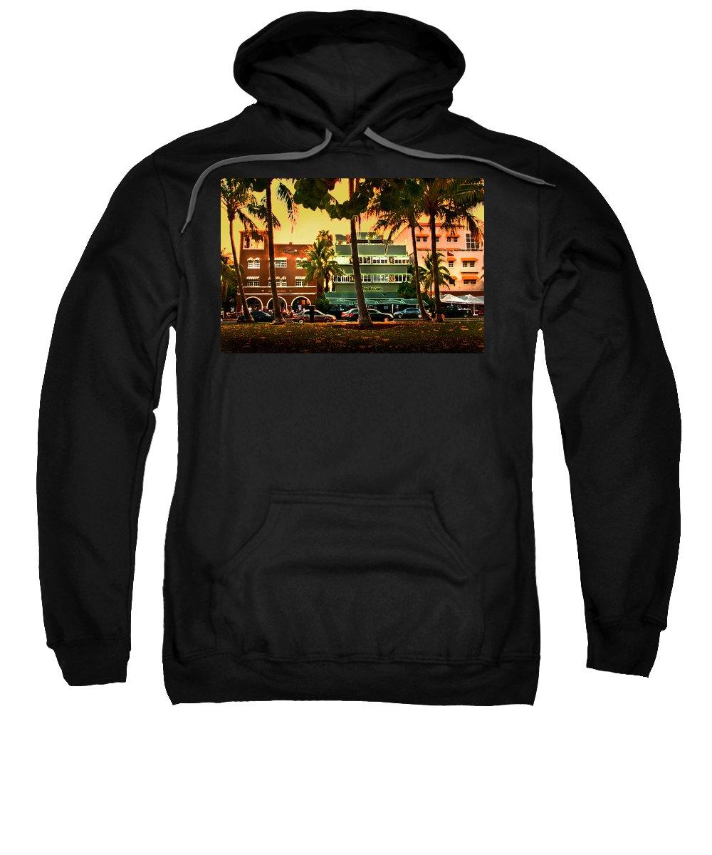 South Beach Sweatshirt featuring the photograph South Beach Ocean Drive by Steven Sparks