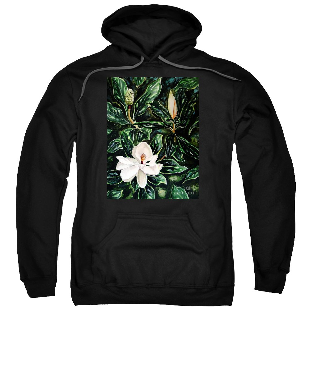 Flower Sweatshirt featuring the painting Southern Magnolia Bud And Bloom by Patricia L Davidson