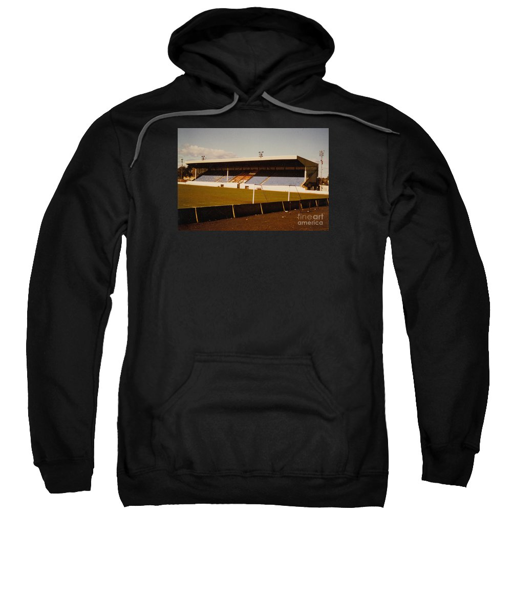 Sweatshirt featuring the photograph Southport Fc - Haig Avenue - Main Stand 2 - 1970s by Legendary Football Grounds