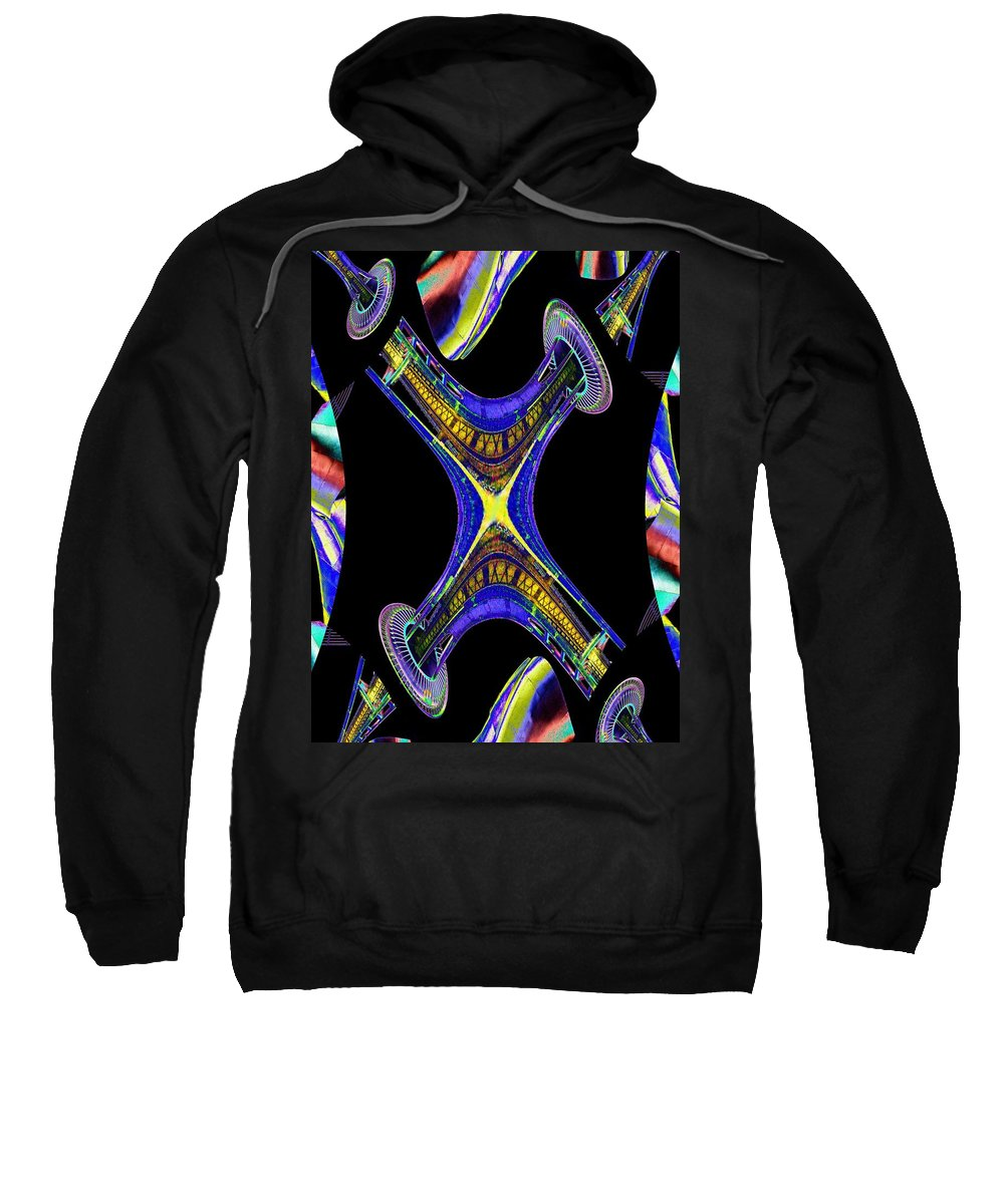 Seattle Sweatshirt featuring the digital art Space Needle And The Experience Music Project by Tim Allen